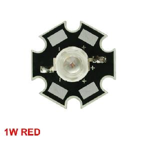 Wholesale 1W Red High Power STAR LED Lamp Light 40-60LM