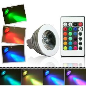 3W RGB Multicolor LED Light Spot Bulb Lamp 12V MR16