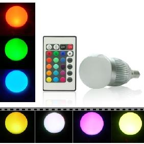 Wholesale 3W 3 Watt RGB LED Light Bulb 16 Colors E14 Remote Control