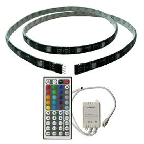 100cm 5050/5060 RGB LED Light Strip 44key DIY Remote Control (Black Backing Strip)