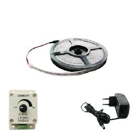Wholesale 5m 3528 White LED Light Strip 12V + Power Supply + Dimmer