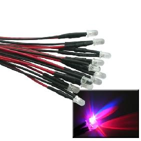 5mm Red Blue Flash LED Bulb Pre-Wired Light 25cm Lead Cable 12V DC