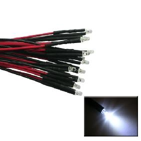 3mm White LED Lamp Light Set 25cm Pre Wired Lead 12V DC