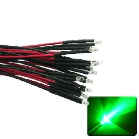 3mm Green LED Lamp Light Set 25cm Pre Wired Lead 12V DC