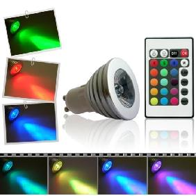 3W 3 WATT RGB FLASH LIGHT BULB REMOTE CONTROL GU10