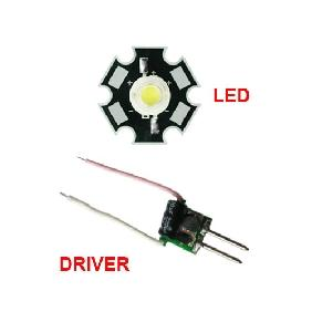 1x 5W WHITE HIGH POWER LED  + 1x Input 12V DRIVER