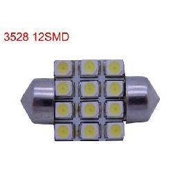 F10 3528 SMD White 12 Led Bulb Dome Light 60lm 12V