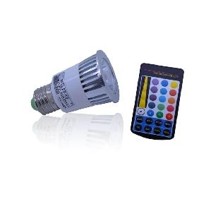 Wholesale 5W 5 Watt Multicolor RGB Led Light Bulb Lamp Rainbow Effect E27 + Remote Control