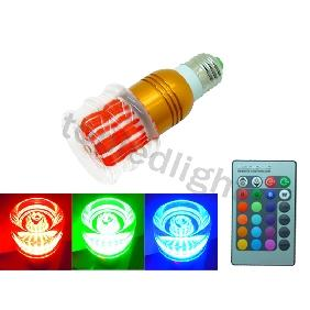 Wholesale 3W RGB Multicolor Flower LED Light Bulb Lamp E27 plus Remote Control