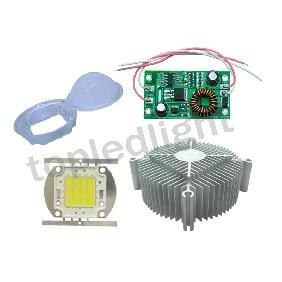 30W White High Power LED Light + 12V-24V Driver + Heatsink + Lens