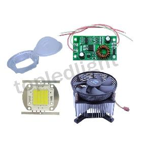 30W White High Power LED Light + 12V-24V Driver + Heatsink Cooler Fan + Lens