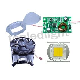 20W Warm White High Power Led Light + 12V-24V Driver + Lens + Heatsink Fan