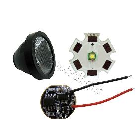 Cree XLamp XPE XP-E LED White Light + 5 Mode Led Driver + Lens with Base Holder