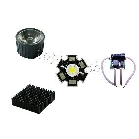 3W White LED + 30° Lens + 12V Driver + Heat Sink DIY