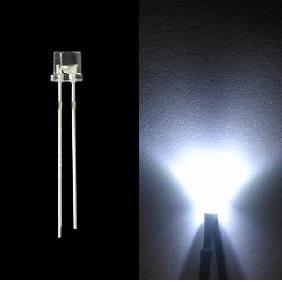 5mm White Flat Top Head Wide View Angle LED