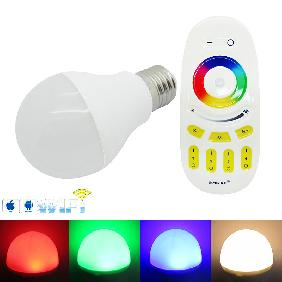 6W E27 RGB Cool/Warm White Dimmable LED Bulb Lamp Light 2.4G RF WiFi Controller