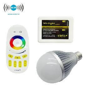 2.4G 12W RGBW RGB White Dimmable LED Light Bulb RF 4-Zone Remote WiFi Controller