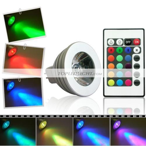 3w rgb multicolor led light spot bulb lamp 12v mr16 by. Black Bedroom Furniture Sets. Home Design Ideas